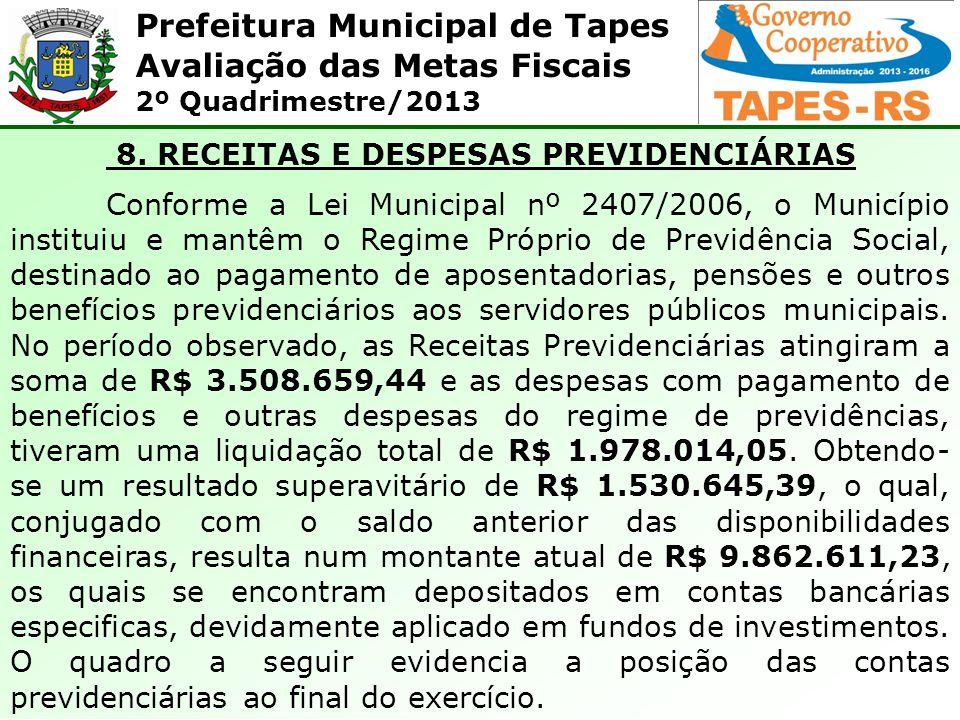 8. RECEITAS E DESPESAS PREVIDENCIÁRIAS