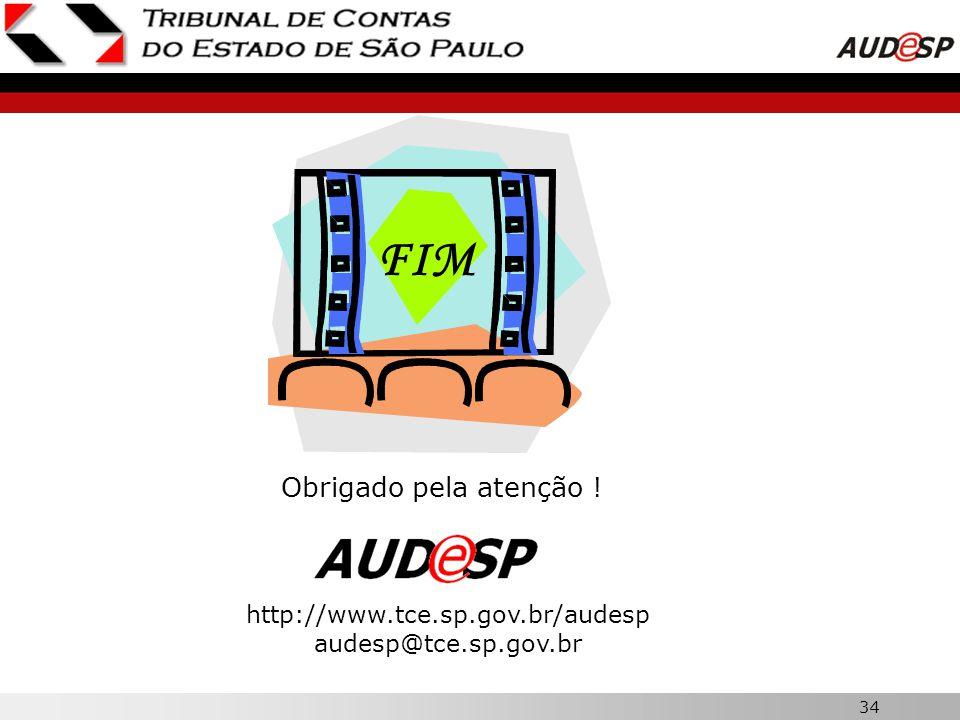 FIM Obrigado pela atenção ! http://www.tce.sp.gov.br/audesp