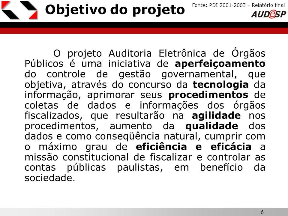Objetivo do projeto Fonte: PDI 2001-2003 - Relatório final. X.
