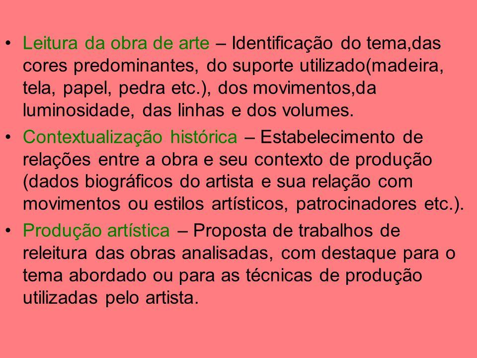 Leitura da obra de arte – Identificação do tema,das cores predominantes, do suporte utilizado(madeira, tela, papel, pedra etc.), dos movimentos,da luminosidade, das linhas e dos volumes.