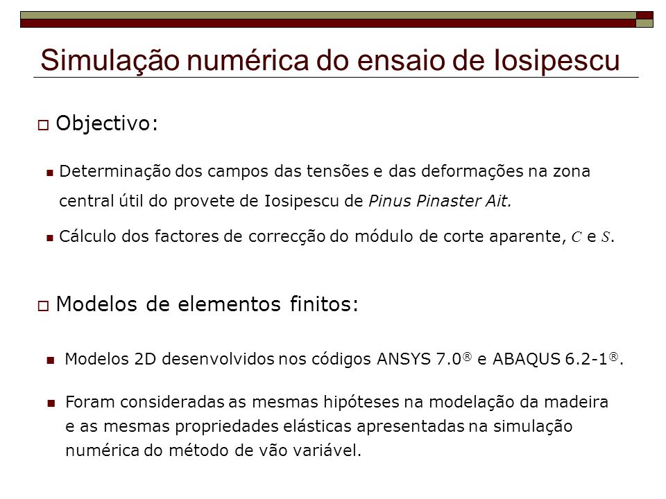 Simulação numérica do ensaio de Iosipescu