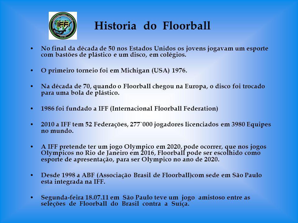 Historia do Floorball No final da década de 50 nos Estados Unidos os jovens jogavam um esporte com bastões de plástico e um disco, em colégios.