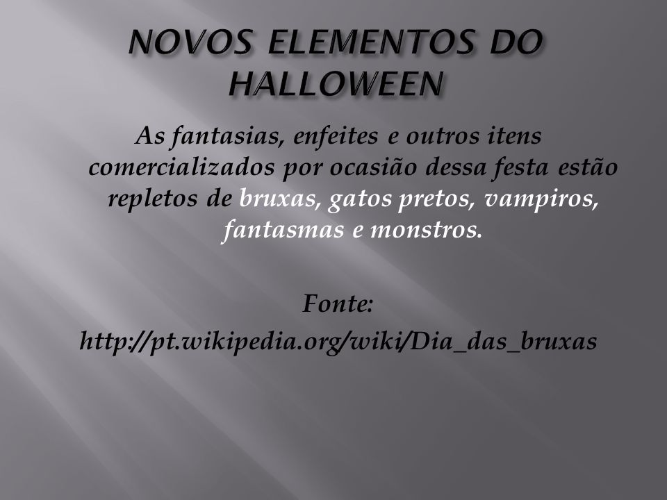 NOVOS ELEMENTOS DO HALLOWEEN