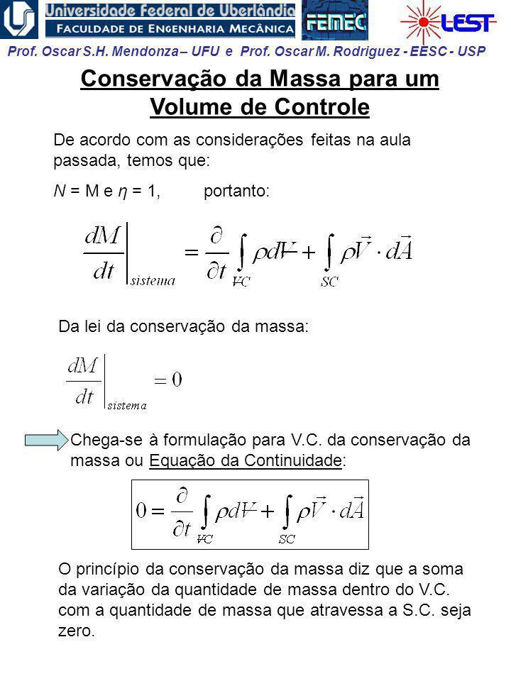 Conservação da Massa para um Volume de Controle