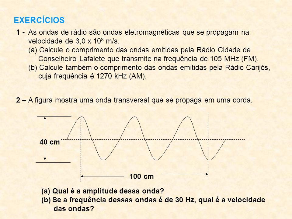 EXERCÍCIOS 1 - As ondas de rádio são ondas eletromagnéticas que se propagam na. velocidade de 3,0 x 108 m/s.