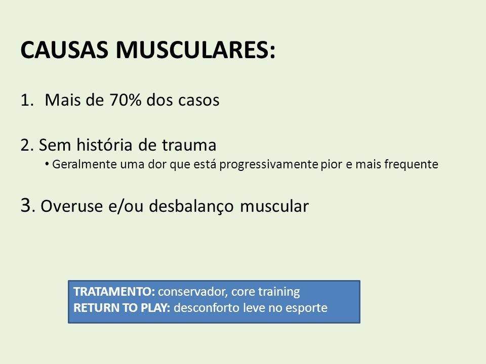CAUSAS MUSCULARES: 3. Overuse e/ou desbalanço muscular