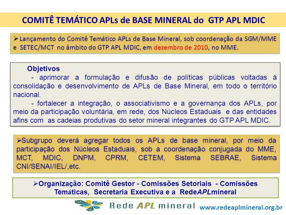 COMITÊ TEMÁTICO APLs de BASE MINERAL do GTP APL MDIC