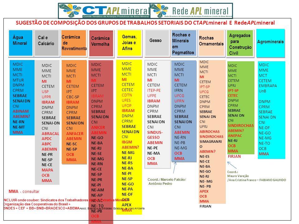 SUGESTÃO DE COMPOSIÇÃO DOS GRUPOS DE TRABALHOS SETORIAIS DO CTAPLmineral E RedeAPLmineral