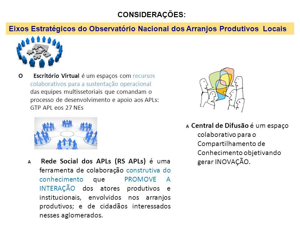 CONSIDERAÇÕES: Eixos Estratégicos do Observatório Nacional dos Arranjos Produtivos Locais.