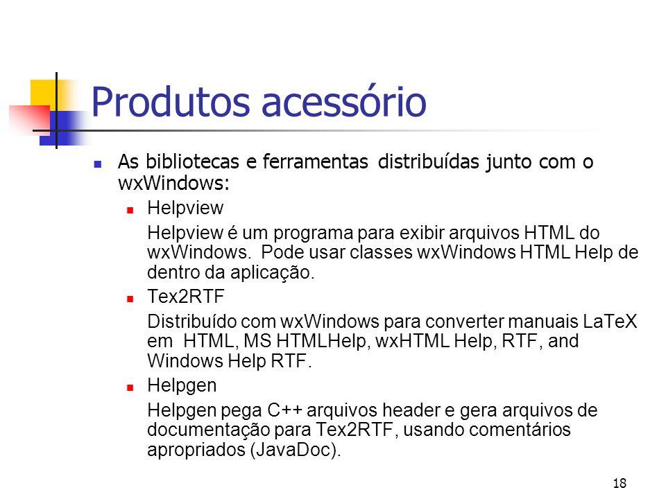 Produtos acessório As bibliotecas e ferramentas distribuídas junto com o wxWindows: Helpview.