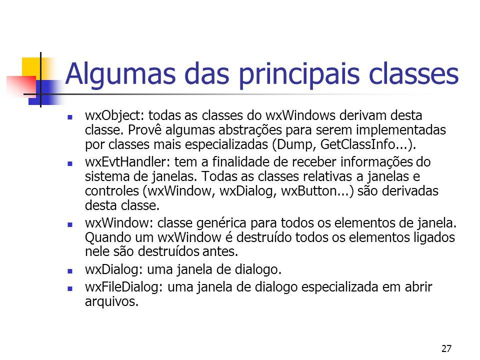 Algumas das principais classes