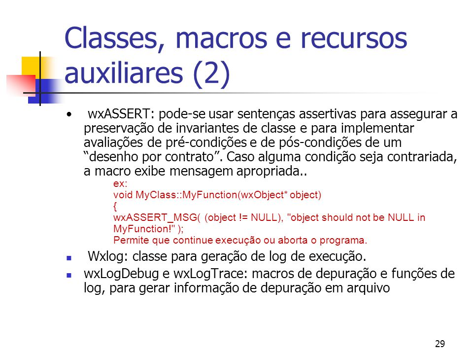 Classes, macros e recursos auxiliares (2)