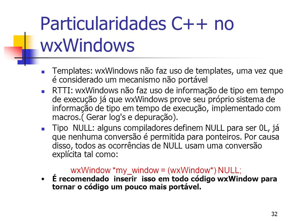 Particularidades C++ no wxWindows