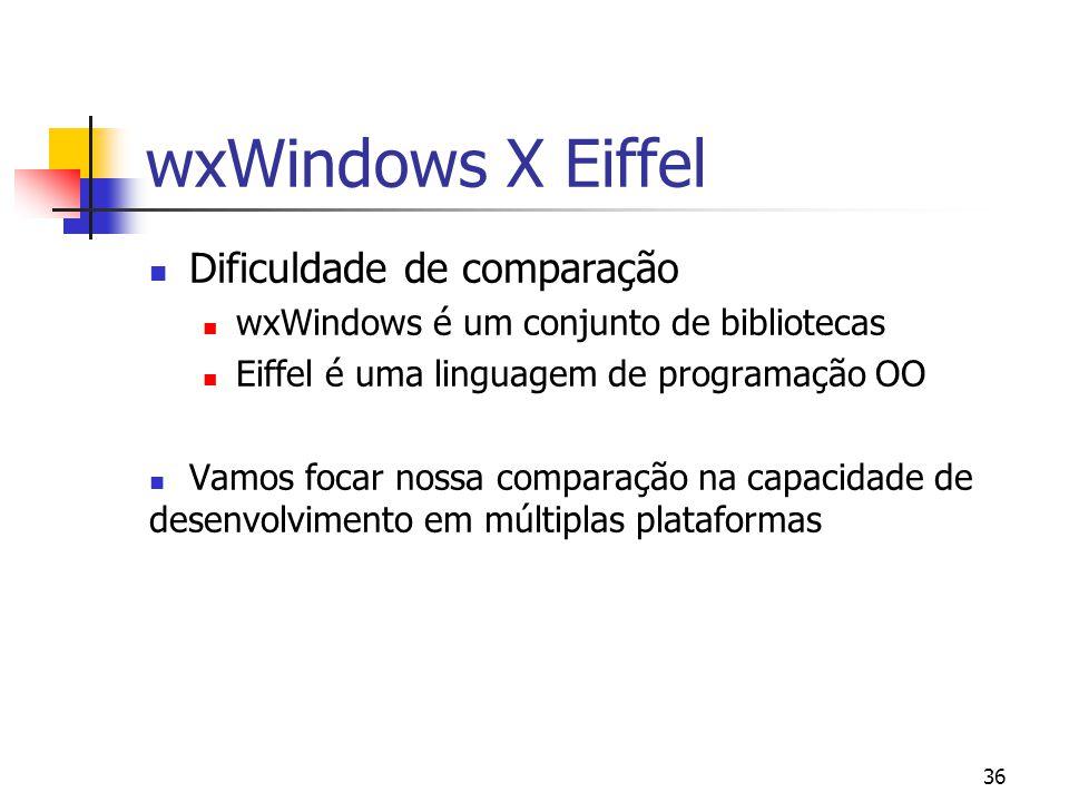 wxWindows X Eiffel Dificuldade de comparação