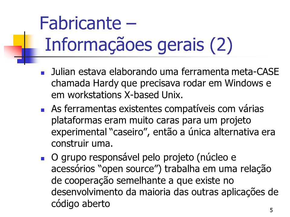 Fabricante – Informaçãoes gerais (2)