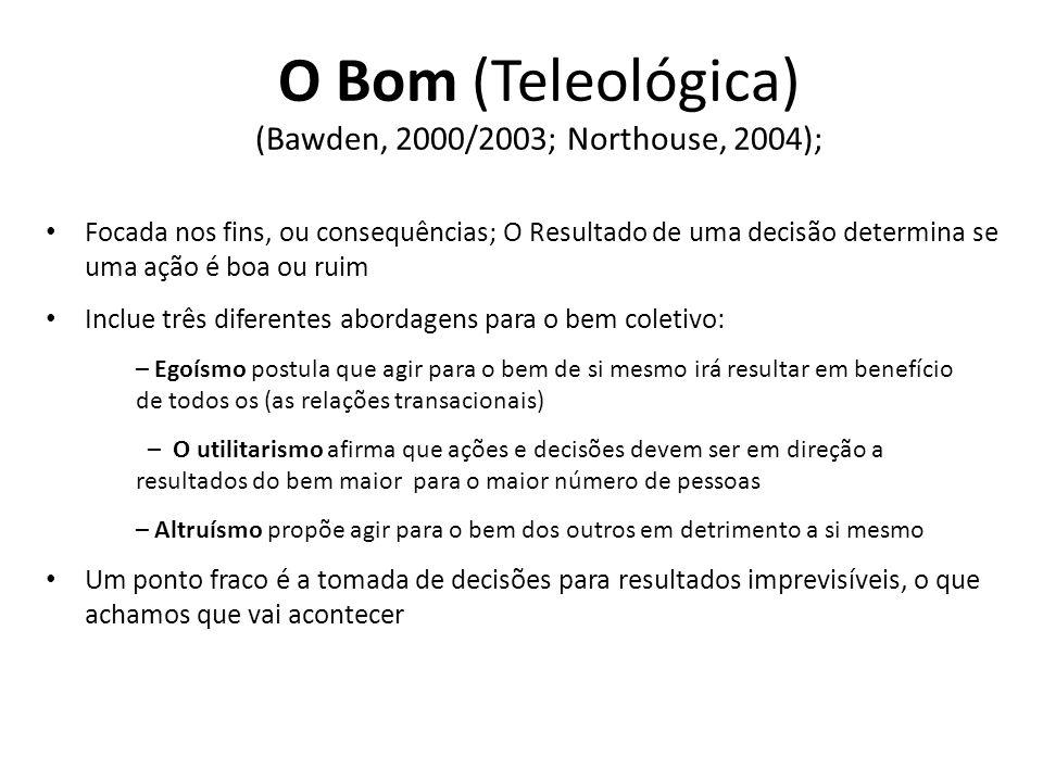 O Bom (Teleológica) (Bawden, 2000/2003; Northouse, 2004);