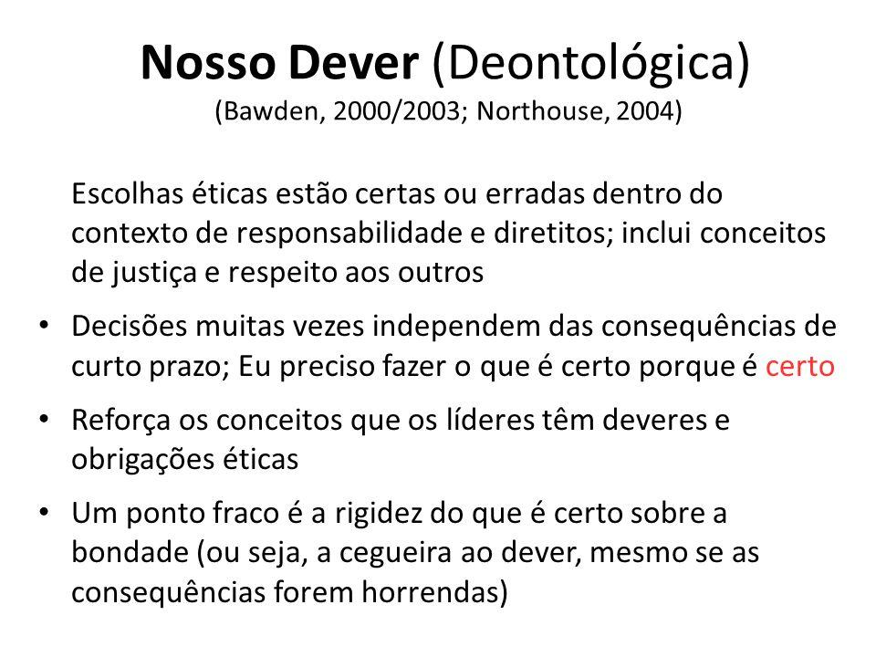Nosso Dever (Deontológica) (Bawden, 2000/2003; Northouse, 2004)