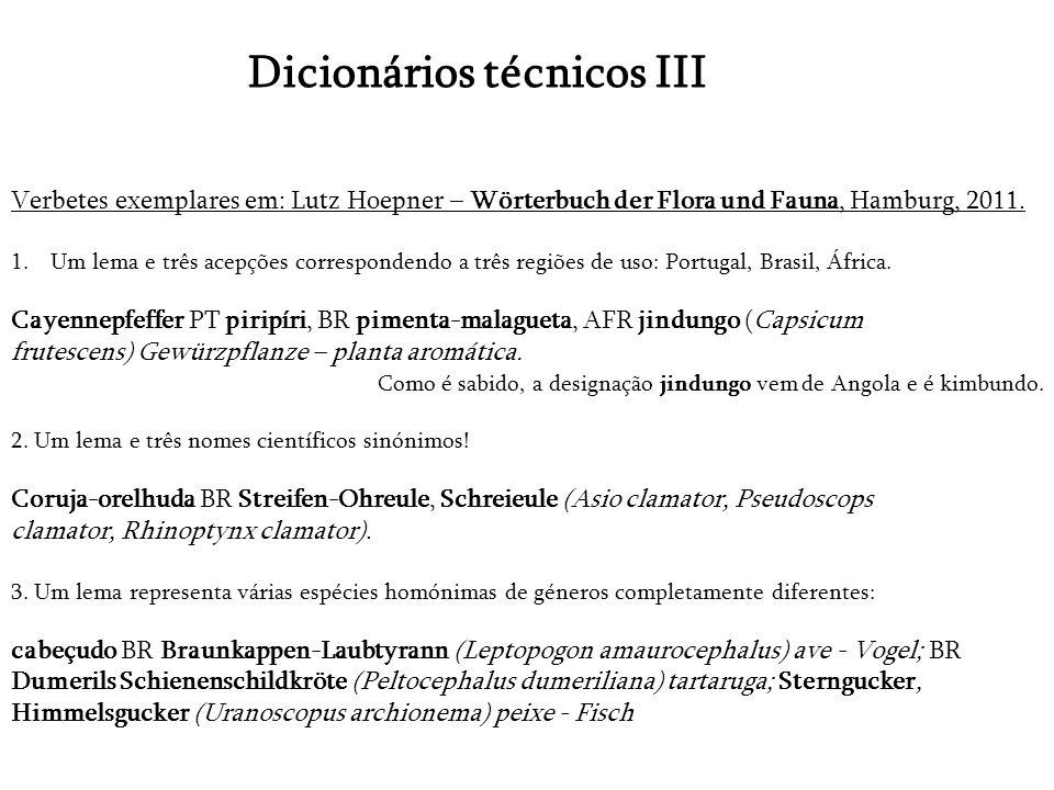 Dicionários técnicos III