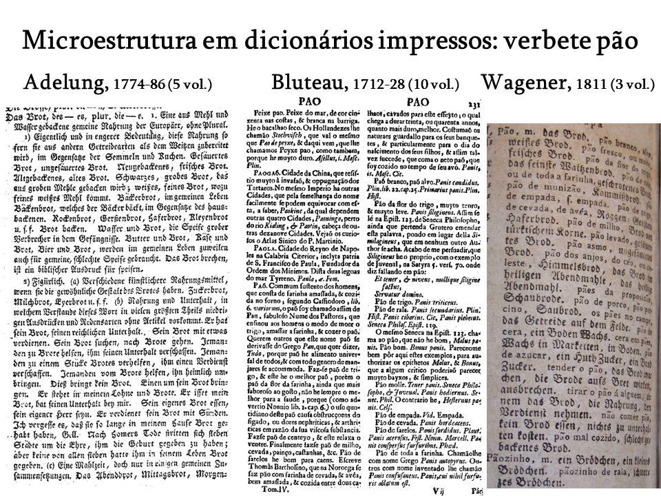 Microestrutura em dicionários impressos: verbete pão