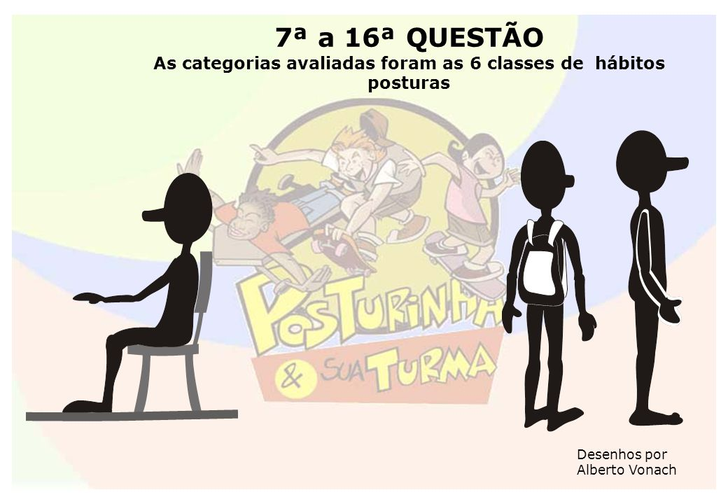 7ª a 16ª QUESTÃO As categorias avaliadas foram as 6 classes de hábitos posturas