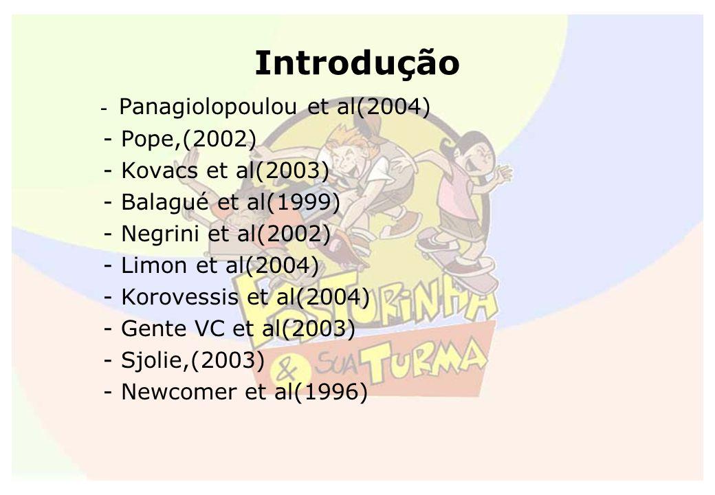 Introdução - Panagiolopoulou et al(2004) - Pope,(2002)