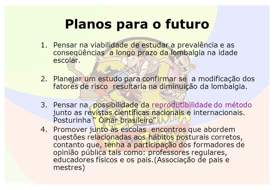 Planos para o futuro Pensar na viabilidade de estudar a prevalência e as conseqüências a longo prazo da lombalgia na idade escolar.