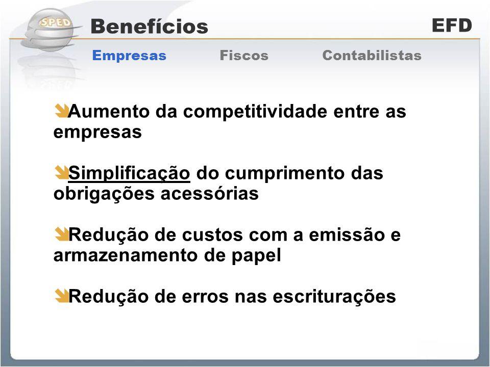 Benefícios EFD Aumento da competitividade entre as empresas