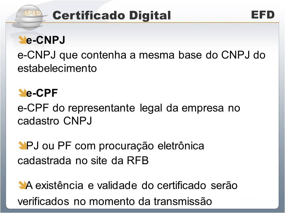 Certificado Digital EFD e-CNPJ