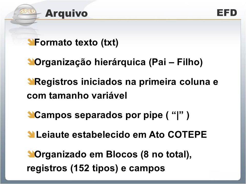 Arquivo EFD Formato texto (txt) Organização hierárquica (Pai – Filho)