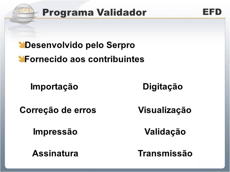 Programa Validador EFD Desenvolvido pelo Serpro