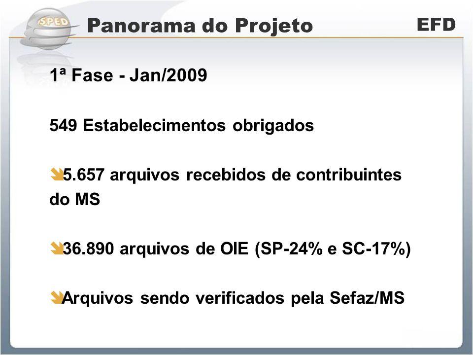 Panorama do Projeto EFD 1ª Fase - Jan/2009