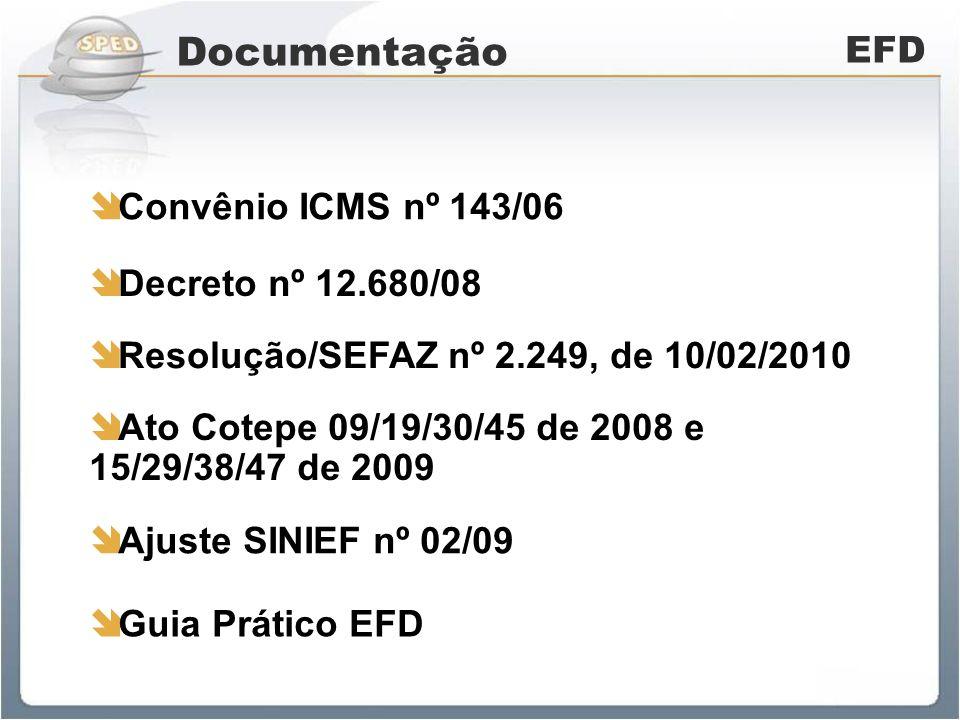 Documentação EFD Convênio ICMS nº 143/06 Decreto nº 12.680/08