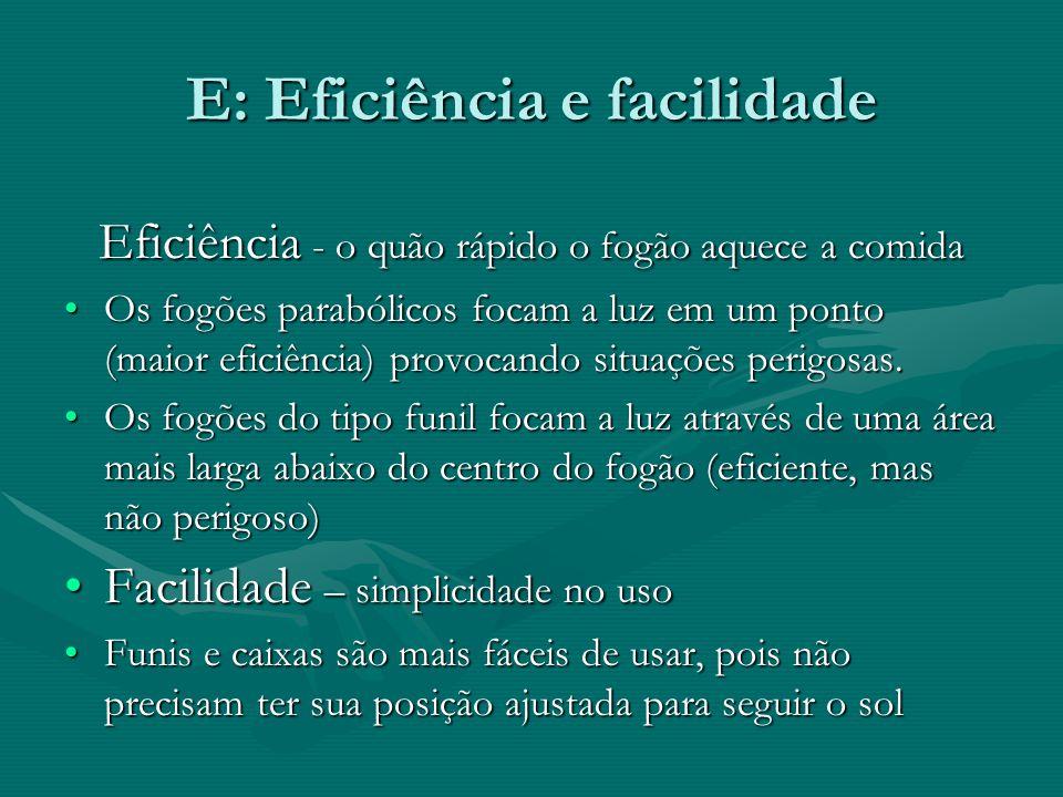 E: Eficiência e facilidade