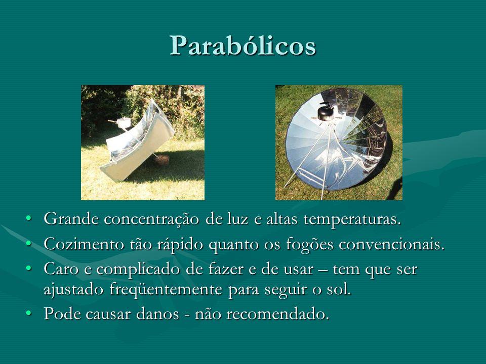 Parabólicos Grande concentração de luz e altas temperaturas.