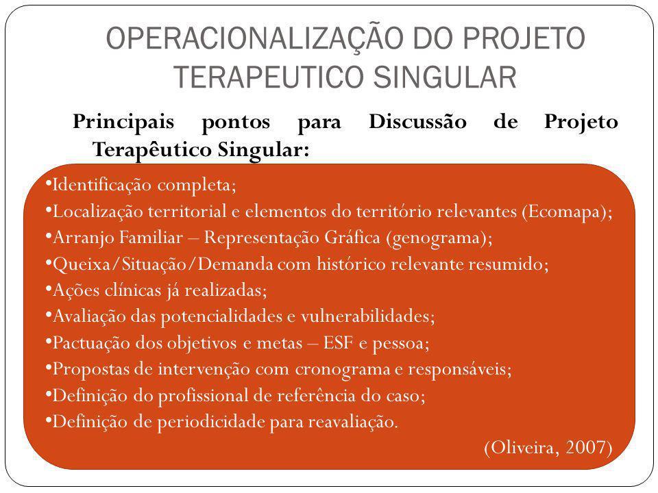 OPERACIONALIZAÇÃO DO PROJETO TERAPEUTICO SINGULAR