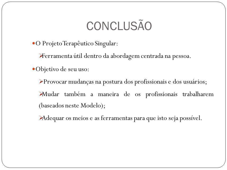 CONCLUSÃO O Projeto Terapêutico Singular: