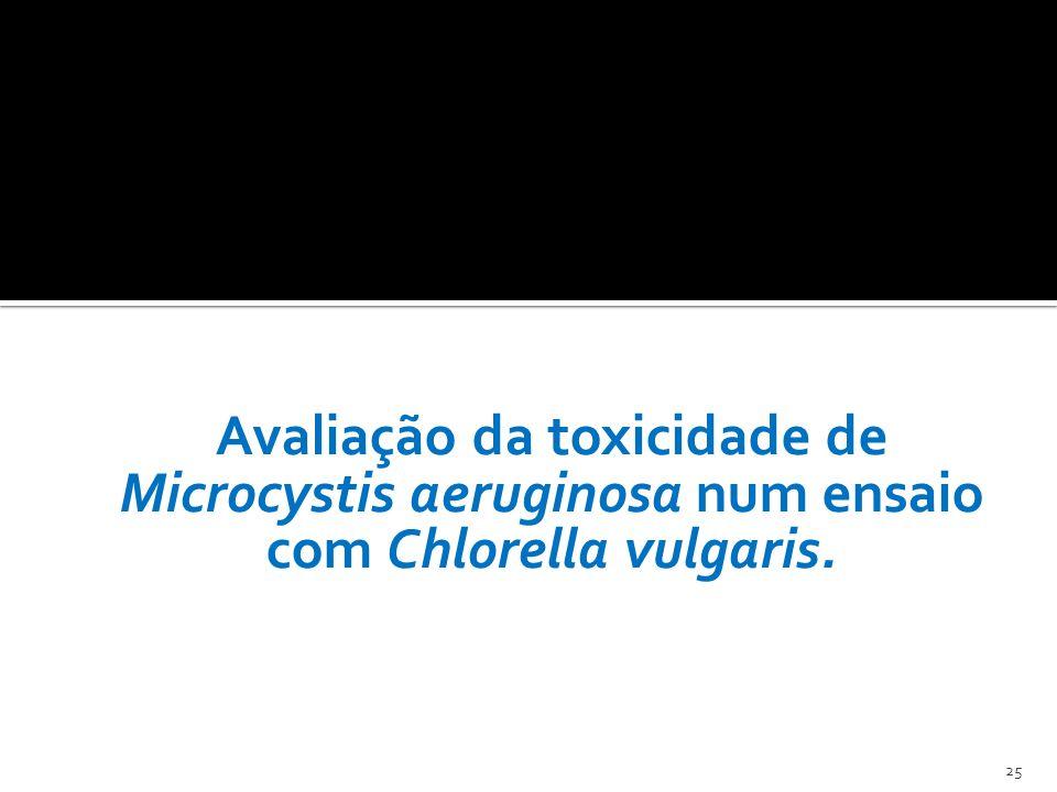 Avaliação da toxicidade de Microcystis aeruginosa num ensaio com Chlorella vulgaris.