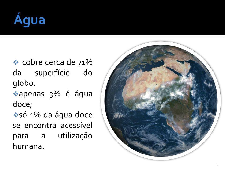 Água cobre cerca de 71% da superfície do globo. apenas 3% é água doce;