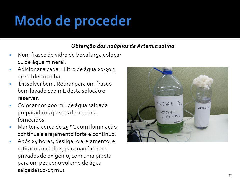 Obtenção dos naúplios de Artemia salina