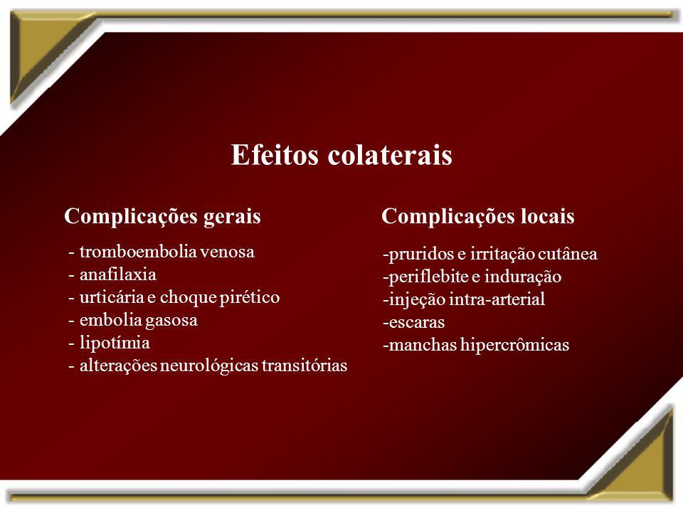 Efeitos colaterais Complicações gerais Complicações locais