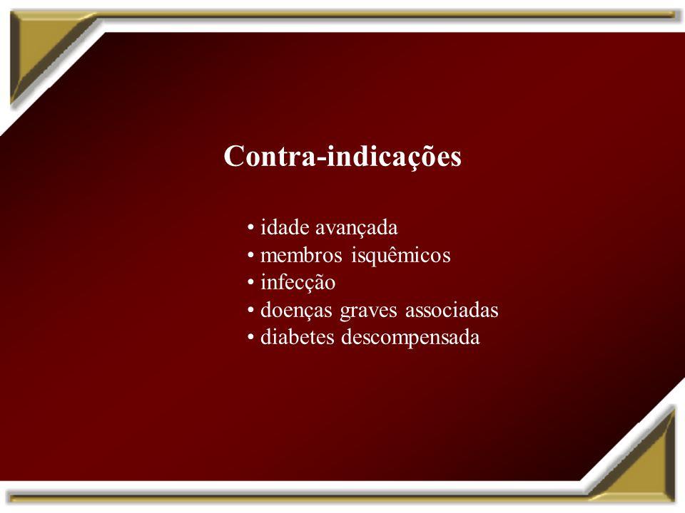 Contra-indicações • idade avançada • membros isquêmicos • infecção
