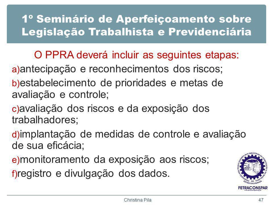 O PPRA deverá incluir as seguintes etapas: