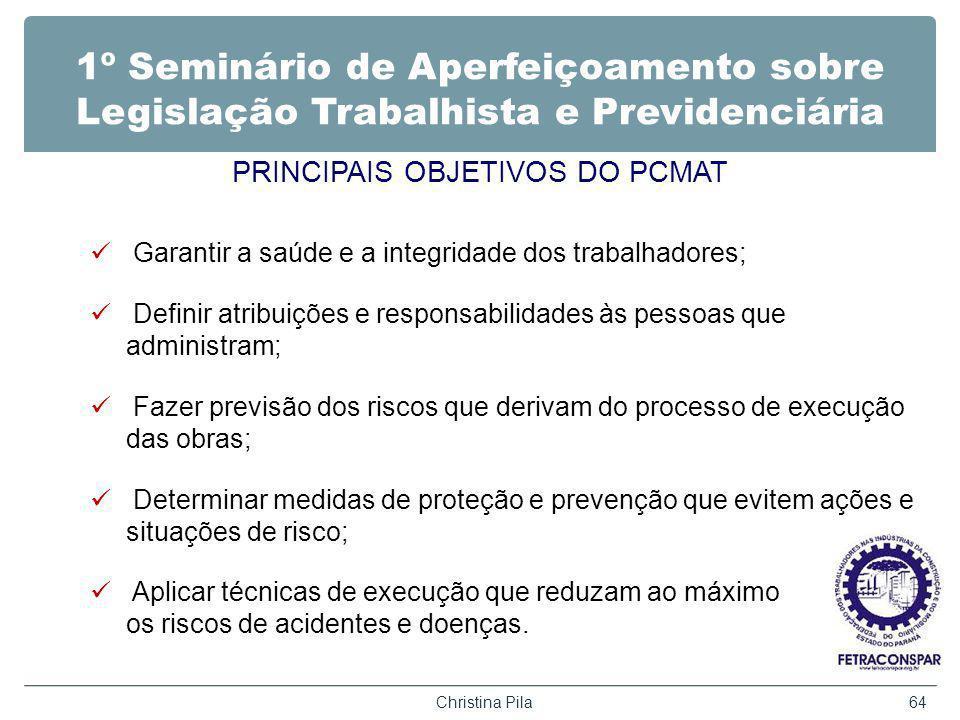 PRINCIPAIS OBJETIVOS DO PCMAT