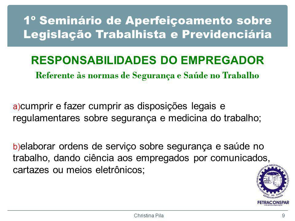 RESPONSABILIDADES DO EMPREGADOR