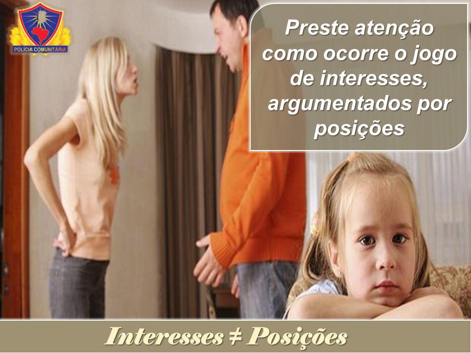 Preste atenção como ocorre o jogo de interesses, argumentados por posições