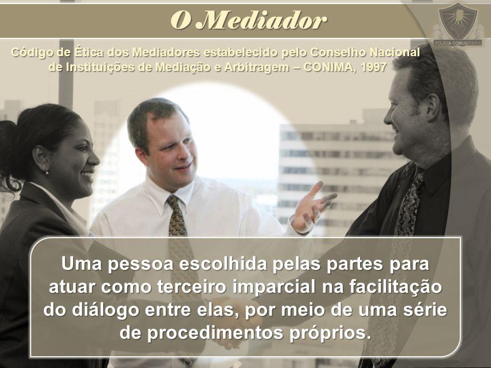 O Mediador Código de Ética dos Mediadores estabelecido pelo Conselho Nacional de Instituições de Mediação e Arbitragem – CONIMA, 1997.