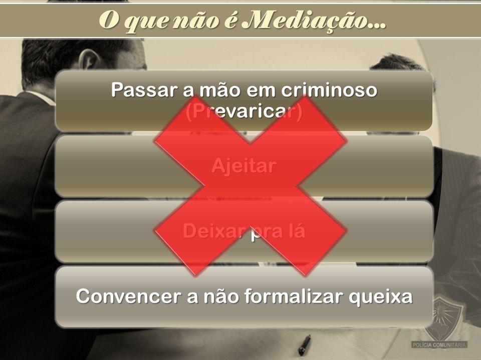 O que não é Mediação... Passar a mão em criminoso (Prevaricar) Ajeitar