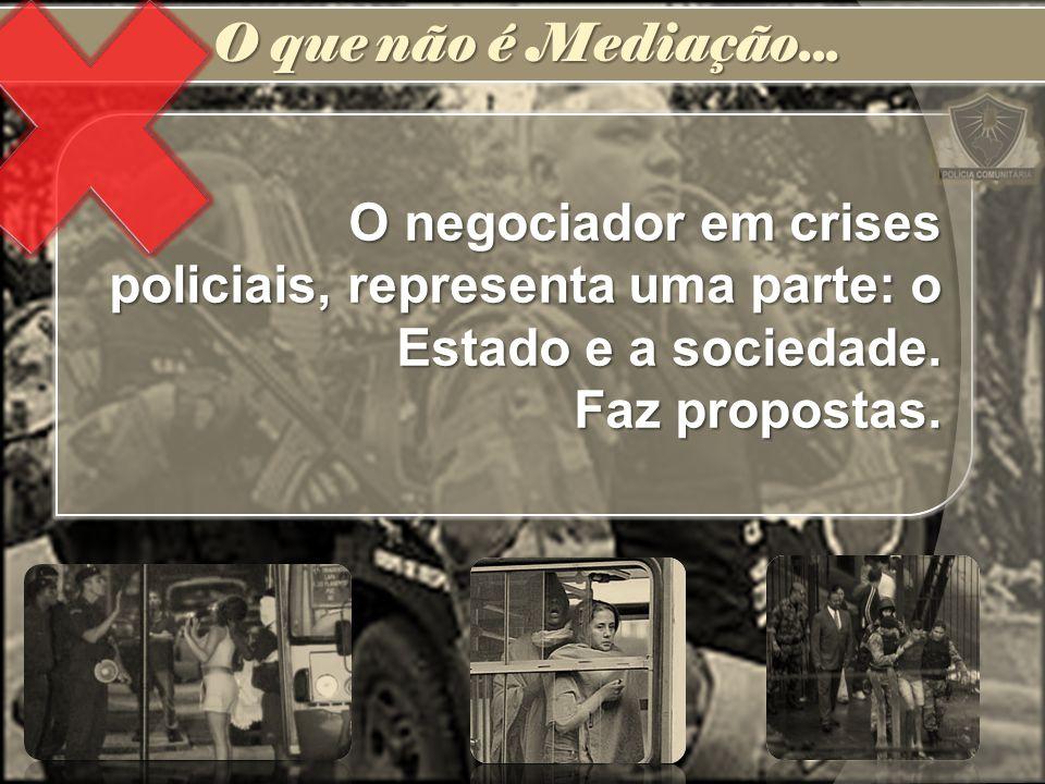 O que não é Mediação... O negociador em crises policiais, representa uma parte: o Estado e a sociedade.