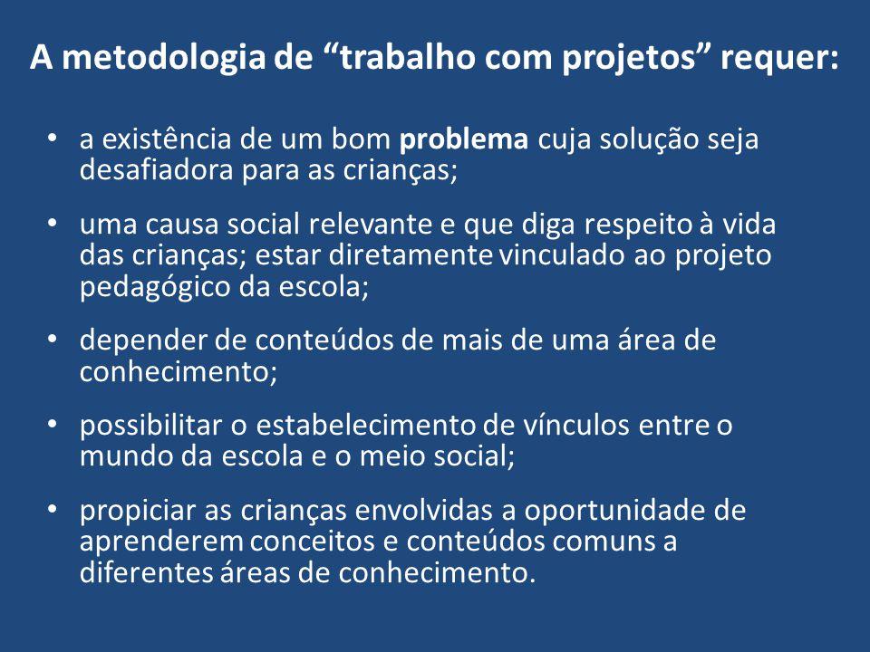 A metodologia de trabalho com projetos requer: