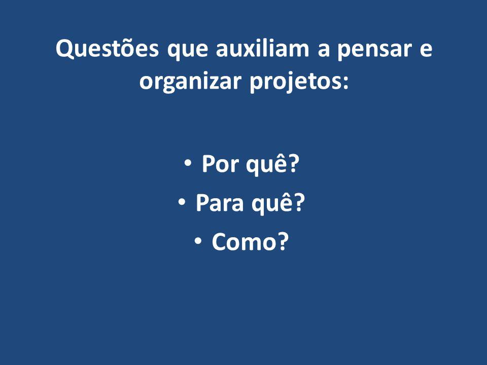 Questões que auxiliam a pensar e organizar projetos:
